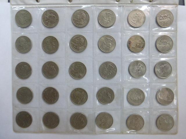 """אוגדן עם מטבעות ארה""""ב 1965-2014 לא רציף, מצבים שונים: 5 סנט (20), 10 סנט (17), 25 סנט (72), חצי דולר (95), 1 דולר (19), סה""""כ 87.20 דולר ערך נומינלי"""