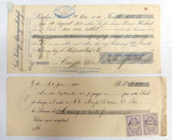 שני שטרות-המחאות, ארץ ישראל העותמאנית, 1911, 1913