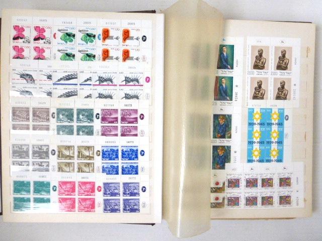 אלבום עם צמדות גלופה plate blocks ישראל, משנות ה50 עד 70, לא שלם, לא רציף