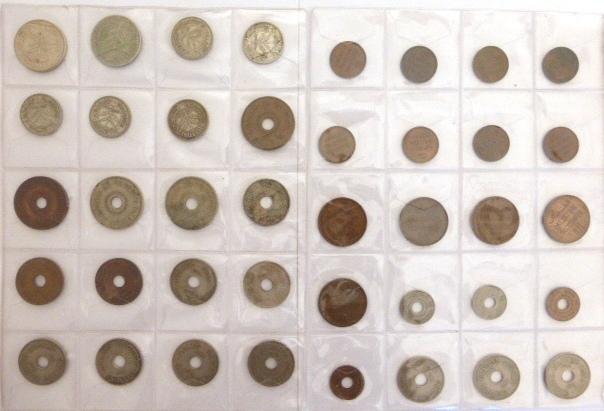לוט 40 מטבעות מנדט: 100 מיל (1927,1935), 50 מיל (1927,1935,1939,1940,1942), 20 מיל (1927,1935,1942,1944), 10 מיל (12), 5 מיל (4), 2 מיל (5), 1 מיל (8)