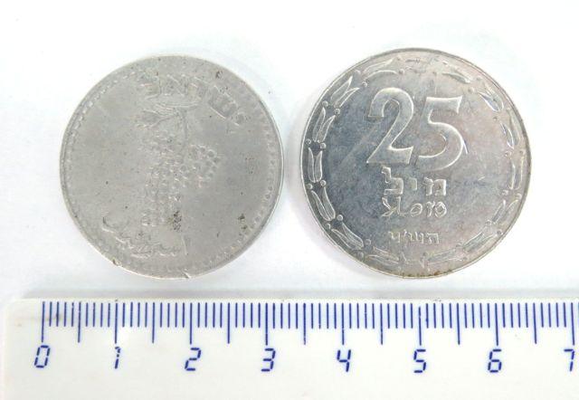 """שתי מטבעות 25 מיל אלומיניום א. תש""""ח המטבע היהודי הראשון אחרי 2000 שנה, ב. תש""""ט"""