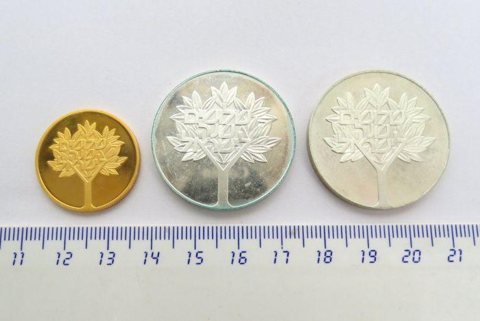 """סט מטבעות יום העצמאות תשל""""ח 1978 מטבע זהב 900, 12 גרם, ע""""ס 1000 ל""""י, כסף 500 קישוט ורגיל, כ""""א 20 גרם"""