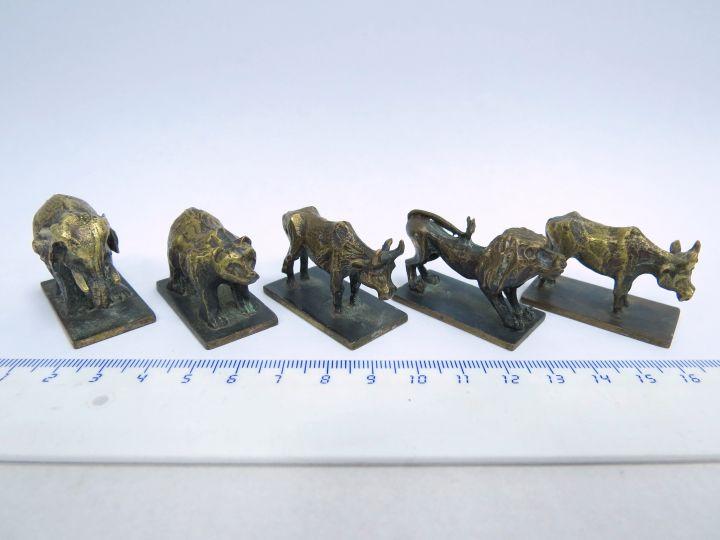 חמש מיניאטורות ברונזה תוצ' ביר Bier, ישראל: פיל, אריה, דב ושני שוורים