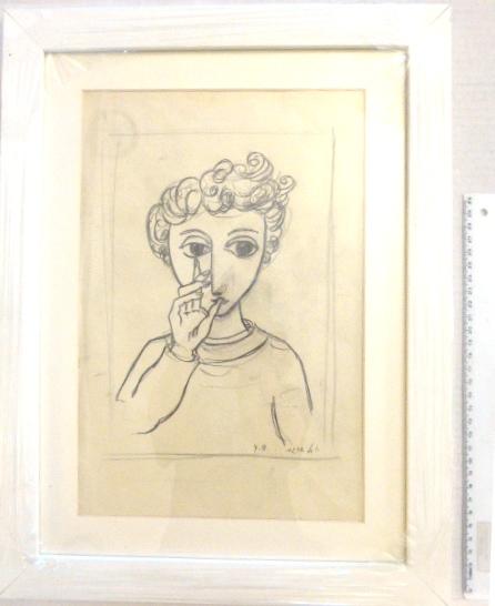רישום עפרון, פני ילד, חתום