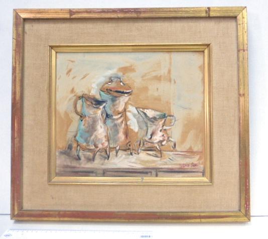 אקריל על לוח, קומקומים, חתום, עם אישור חתום של האמן בגב התמונה (1978), 29X34