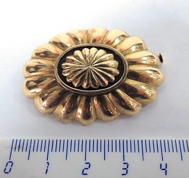 סיכת זהב 14K, עם לוחית אוניקס דקו, שנות ה20, 6.8 גרם