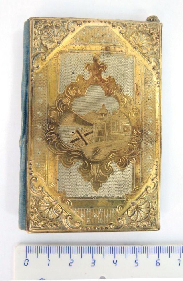 """מחזיק פנקס עתיק, כסף חרוט עם הזהבה, תמונת בתים, 9.5X6 ס""""מ"""