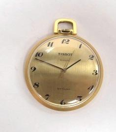 שעון כיס- תליון, תוצ Tissot שוויץ, קופסה מצופה זהב, מנגנון מכני מצב עבודה