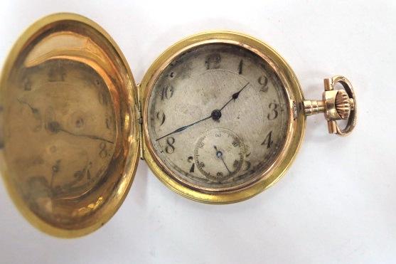 שעון כיס עתיק, קופסה זהב 14K שלושה מכסים, מצב עבודה