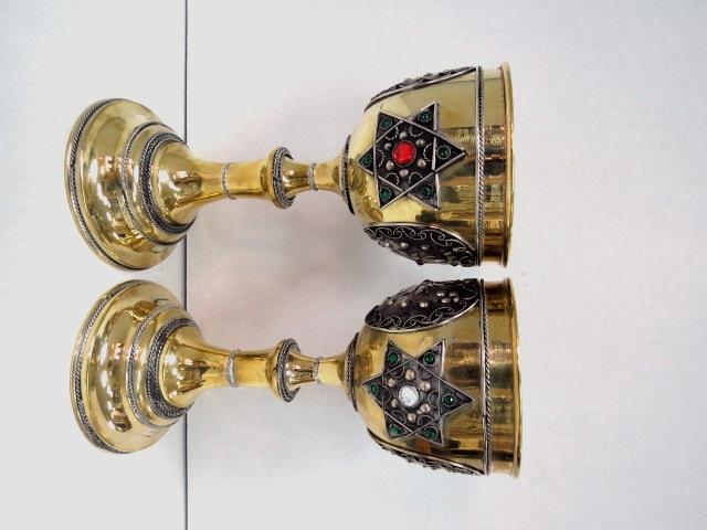 """זוג גביעי קישוט, הזהבה ופיליגרן גובה 23 ס""""מ"""
