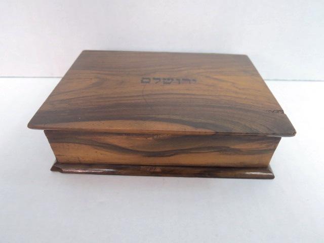 """קופסת עץ זית צורת ספר עם כיתוב """"ירושלם"""", 12.5X9.5X3.5"""