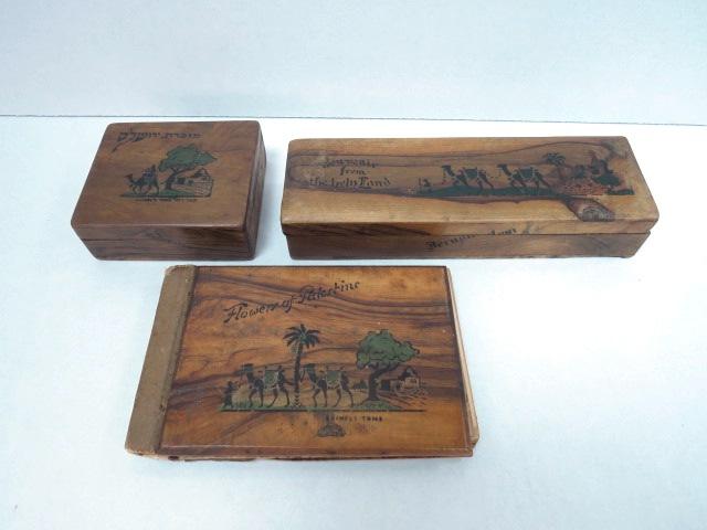שלושה פריטים- שתי קופסאות ואלבום פרחים, עץ זית עם ציורים, קבר רחל (2) ומגדל דוד