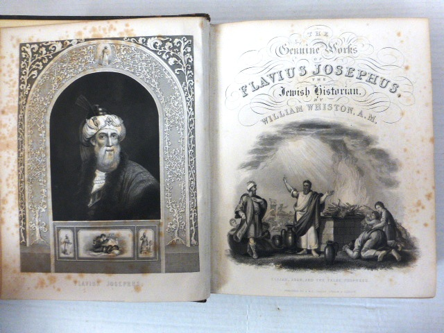 The Genuine works of Flavius Josephus כל כתבי יוסף בן מתיתיה The jewish historian (trnsl) by William Whiston, comprising: The Antiquities of the Jews, a history of the jewish wars, and the life of Josephus.. By himself with a sequel to the History of the Jews incl. frontpiece and 53 engravings, London, 1848 (foxing)