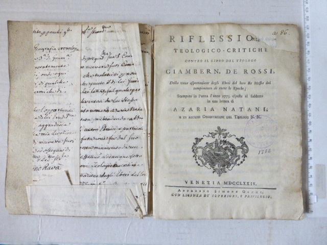 critiche contro il del Libro Teologo Ciamben de Rossi.. Di Azaria Natani, Venecia 1774, incl handwritten letter by Benjamino Rava