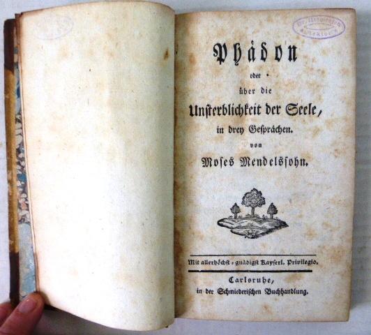 Phaedon oder ueber die Unsterblichkeit der Seele in drey Gespraechen, Karlsruhe ca 1870, 224 p orig binding