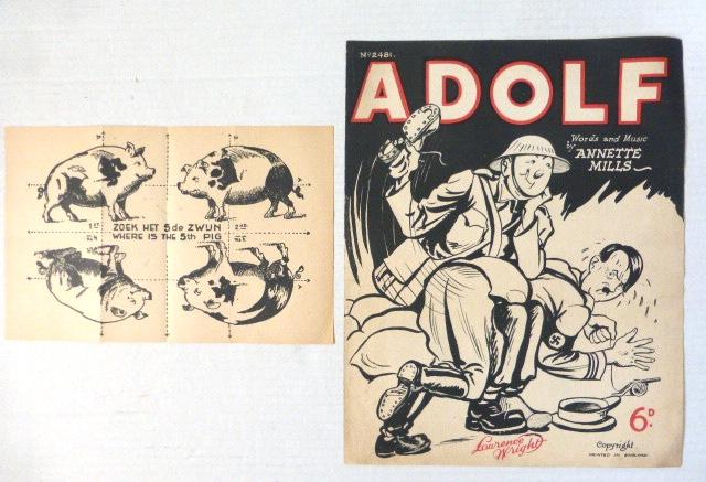 """שני פריטי נייר אנטי נאציים גליון תווים אנטי נאצי עם קריקטורה על הכריכה Adolf words and music by Annette Mills, printed in England  ודף מתקפל עם 4 חזירים, """"איפה החזיר החמישי"""", הולנד, מלחמת העולם השניה"""
