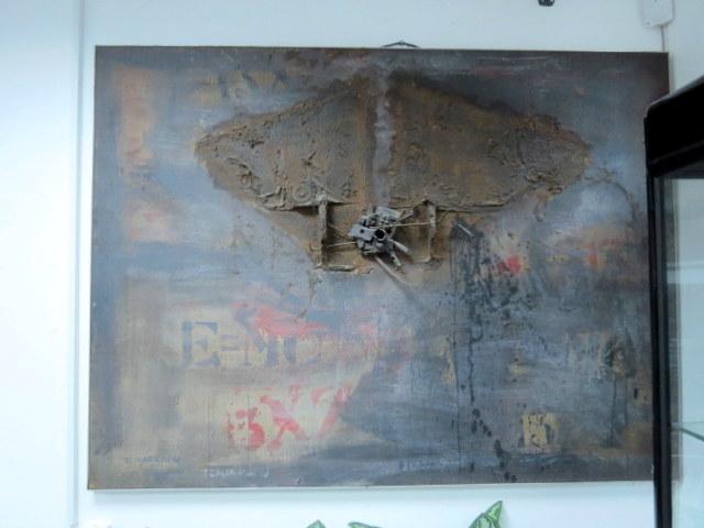 """שמן על בד """"פיצוץ אטומי"""" EMC חתום (התמונה נרכשה אצל פרדי קויאט ב-1977 ), 98X131"""