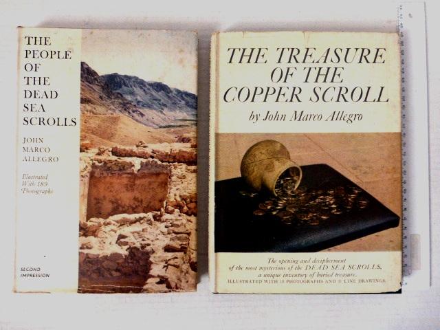 שני ספרים אודות המגילות הגנוזות: a. The People of the Dead Sea Scrolls, 2nd Imp. 1959 b. The Treasure of the Copper Scroll, 1st Ed., 1960