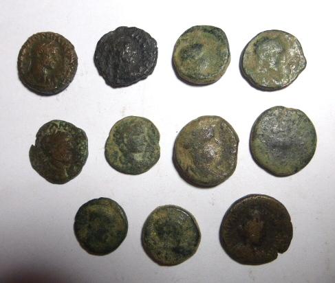 אחת עשרה מטבעות ערים, ארץ ישראל ומצרים, מאות ראשונה עד רביעית לספירה, כולל: פטרה, אלכסנדריה, קיסריה ועוד