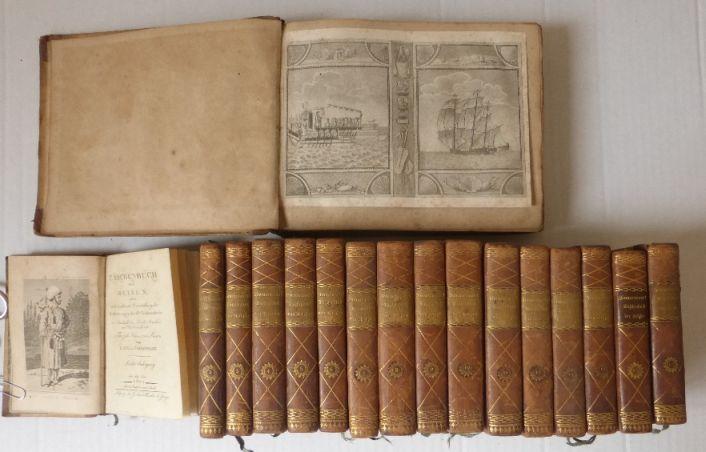 Taschenbuch der Reisen 15 כרכים וכן כרך הכולל תחריטים ומפות של המקומות בהם דן הספר, ברלין, 1803-1813 (נדיר)