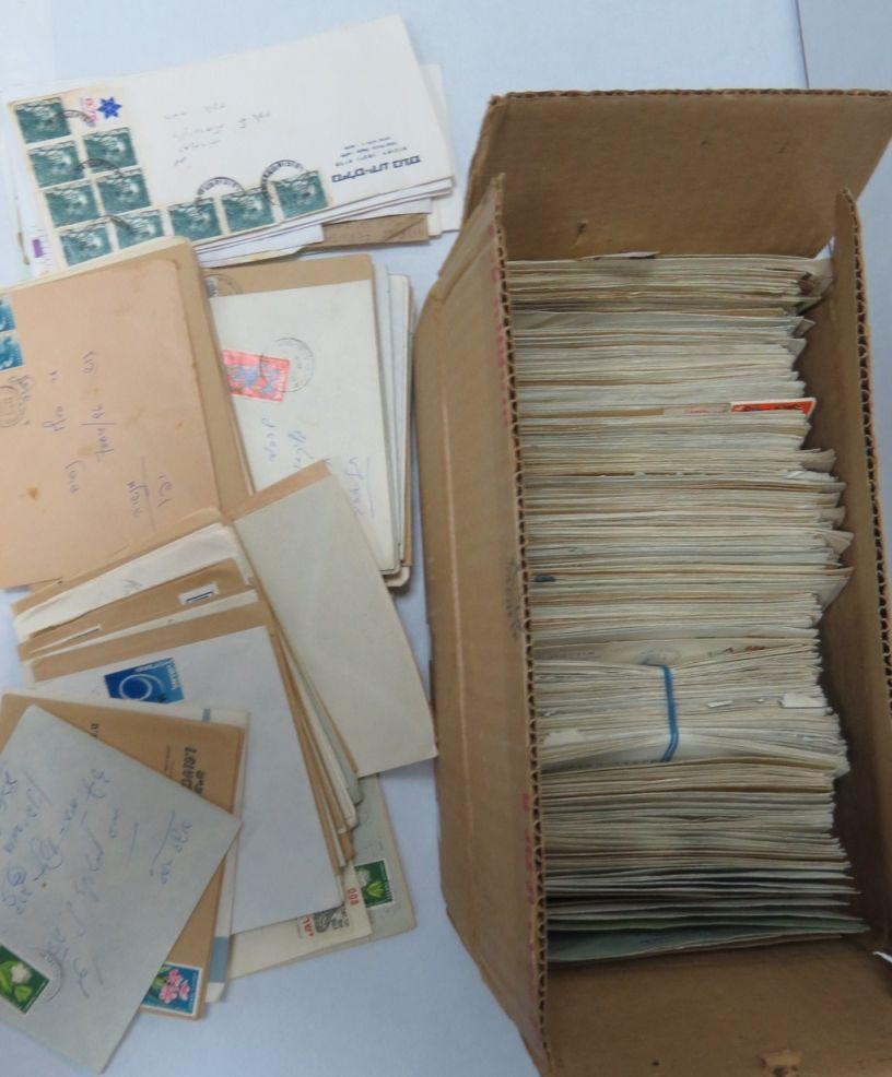 קופסה עם כמות מעטפות שנשלחו, דואר מסחרי, ישראל, שנות ה60-80