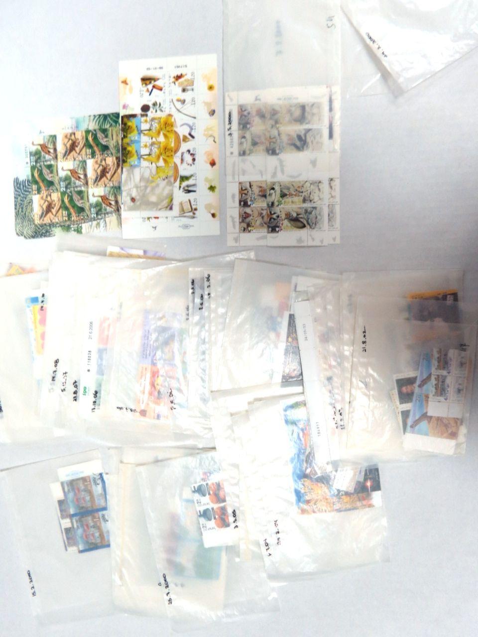 """לוט בולים לא חתומים, דואר ישראל 2000-2012, ס""""ה 3002 ₪ ערך נומינלי"""