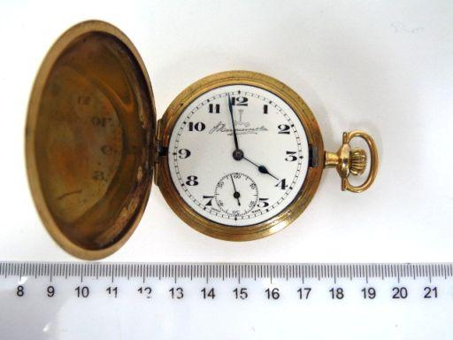 שעון כיס  I.W.C USA קופסה עם שלושה מכסים, מצופה זהב (חסרה זכוכית) , rolled gold, מצב עבודה