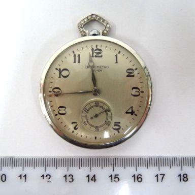 """שעון כיס תוצ Ariste Culeme, ג'נבה שוויץ, קופסה פלטינה עם שיבוץ של כ80 יהלומים, 2-3 נק' כ""""א"""