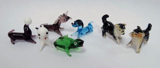 שבע מיניאטורות, בעלי חיים שונים חמש מזכוכית ושתים מפורצלן