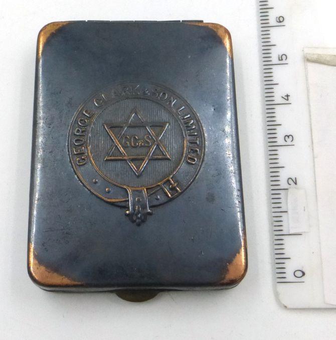 קופסה לחפיסת גפרורים, פרסומת ל George Clark a. Son Ltd, אנגליה, תחילת המאה ה20, 6.5X4.5