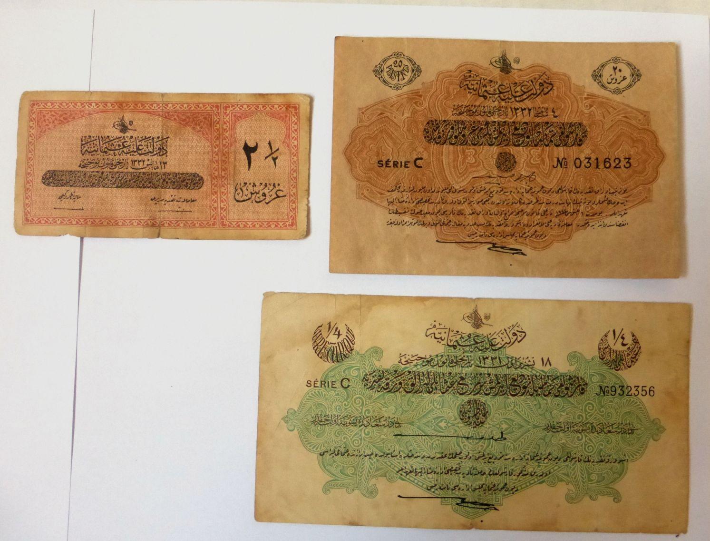 """שלושה שטרות של האימפריה העותמאנית ע""""ס: רבע לירה, 1331, 20 פיאסטר 1332, ו2.5 פיאסטר 1332, מצבים VF"""