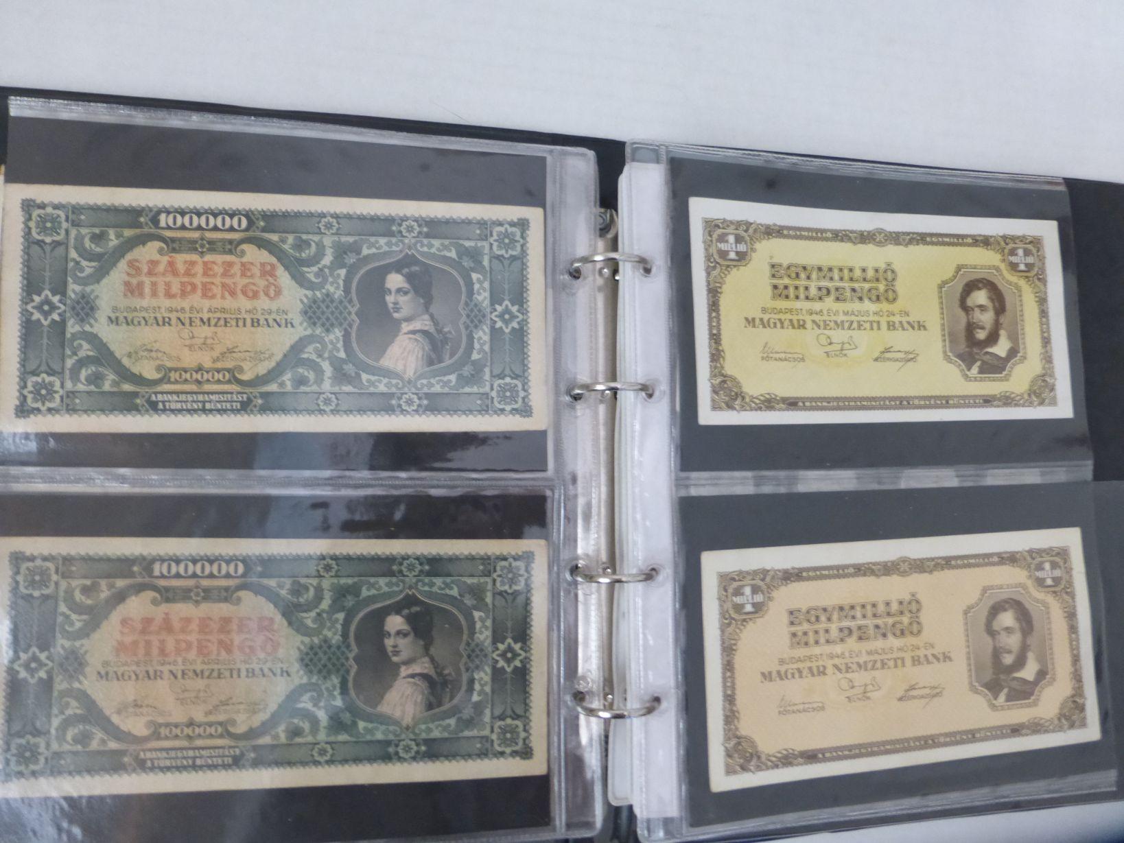 אלבום עם אוסף חובבני: שטרות דולר, שטרות הונגריה ואחרים, מטבעות רומניה, כל העולם והאימפריה העותמאנית