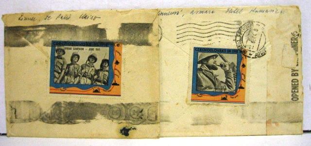 """שתי מעטפות שנשלחו בדואר זמן מלחמת העולםהשניה, כ""""א עם תו Czechoslovaks in the M.E."""