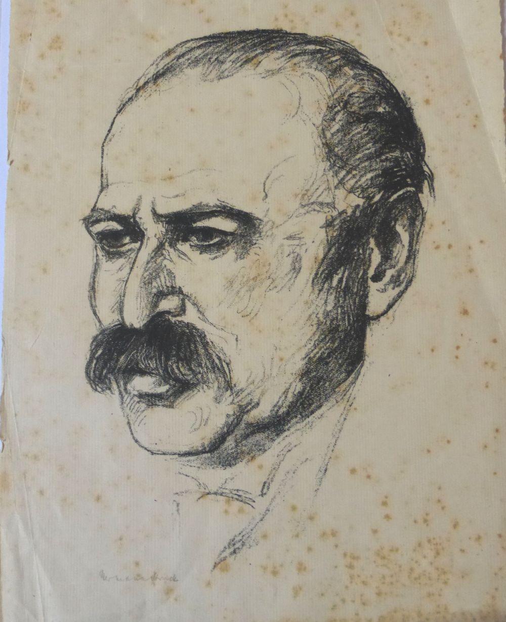 ליטוגרפיה, דיוקן הצייר לסר אורי חתום (חלודה), 26X20