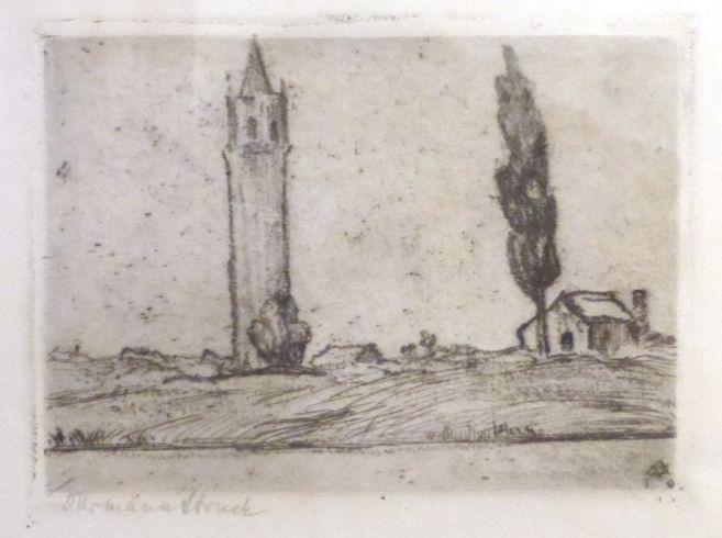 תצריב, נוף עם מגדל וברוש חתום, 6.5X9