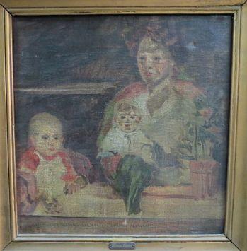 שמן על בד, אישה עם שני ילדים 33X33