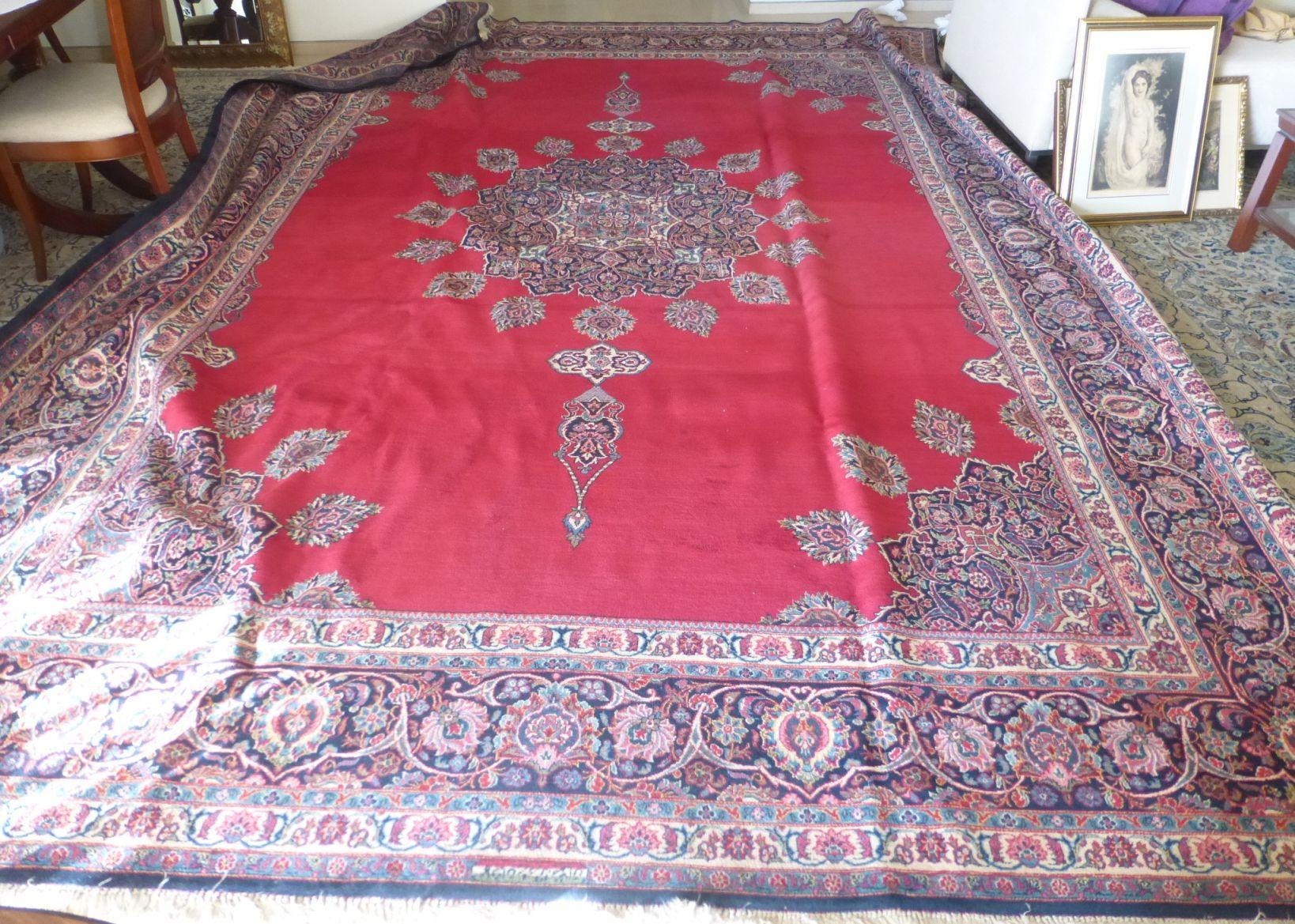 שטיח פרסי גדול עבודת יד דוגמת קשאן, נזקי עש, 428X316