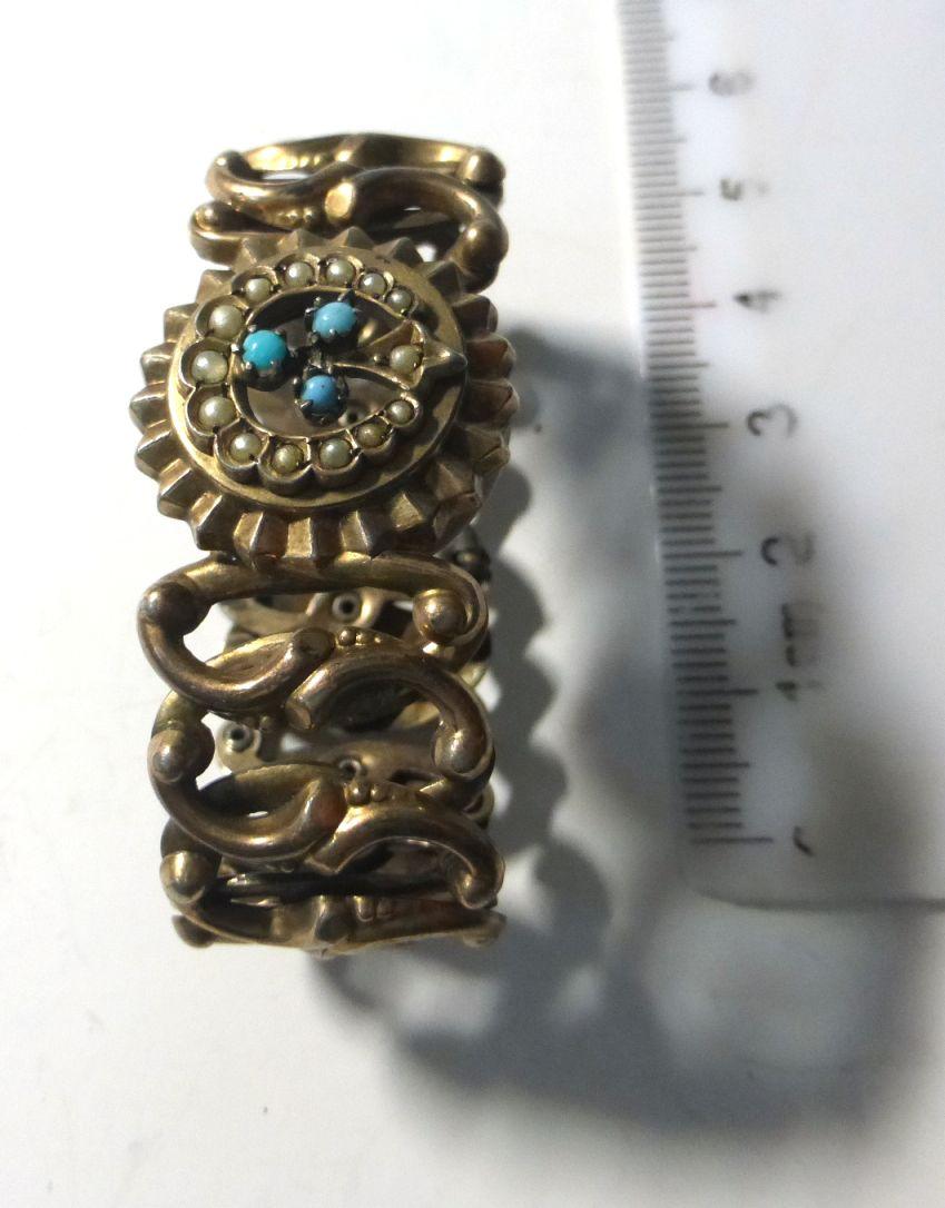 צמיד כסף מצופה זהב לילדה עם שיבוץ פנינים זעירות וטורקיזים, 17 גרם