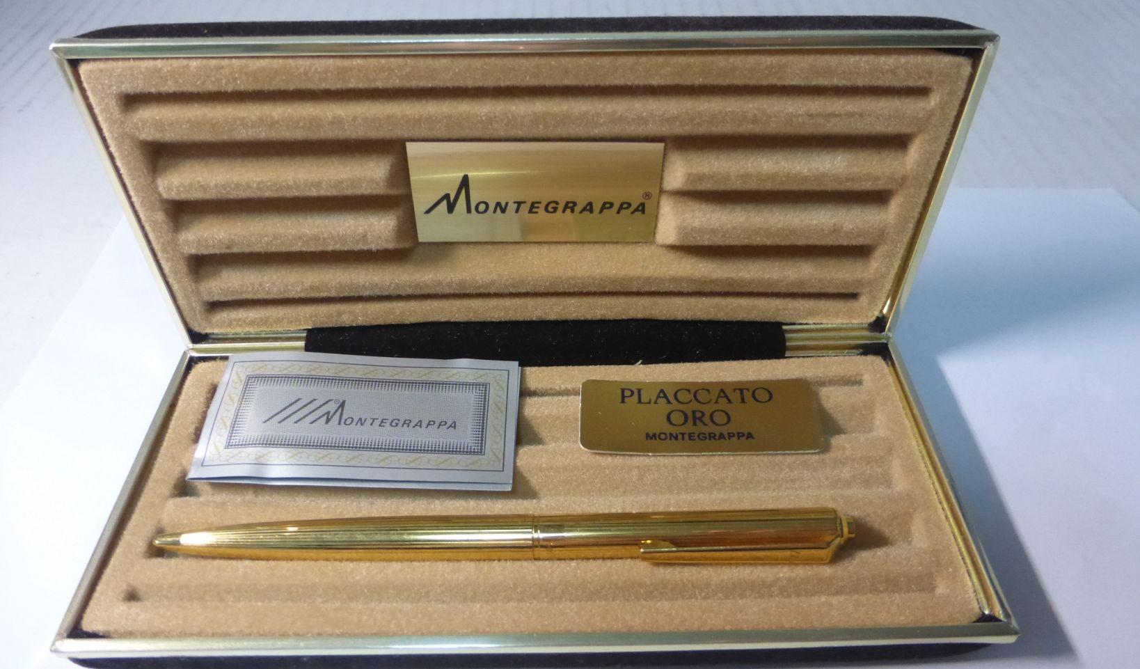 עט כדורי תוצ Montegrappa איטליה, מצופה זהב, באריזה מקורית ללא מילוי