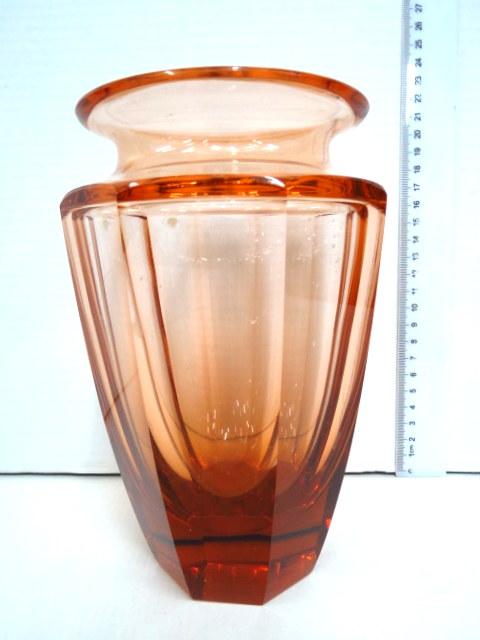 אגרטל זכוכית קריסטל מלוטש עבודת Moser, צ'כוסלובקיה, פגום