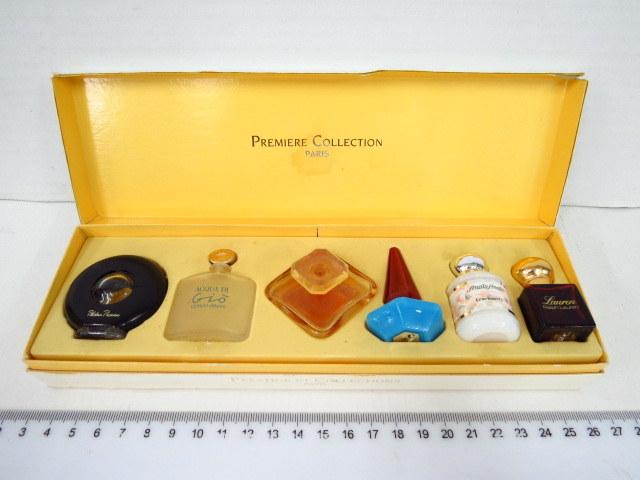 קופסה עם אוסף בקבוקוני דוגמיות בושם צרפתיים