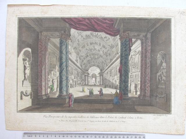 תחריט נחושת עם אקוורל, ארמון הקרדינל קולון, רומא