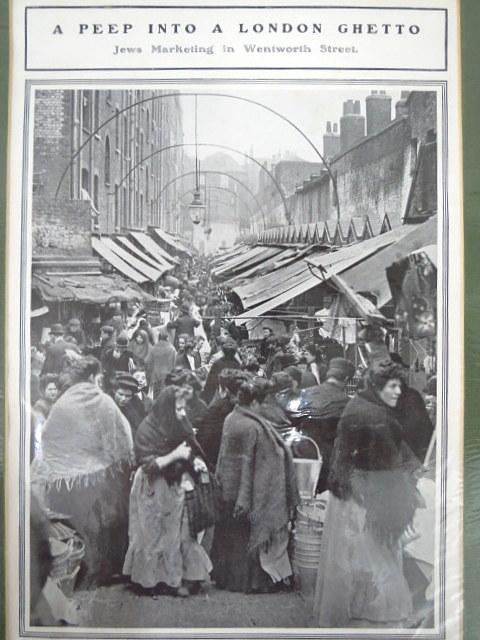 צילום הדפס, הצצה לגטו הלונדוני יהודים בשוק Wentworth, סוף המאה ה19