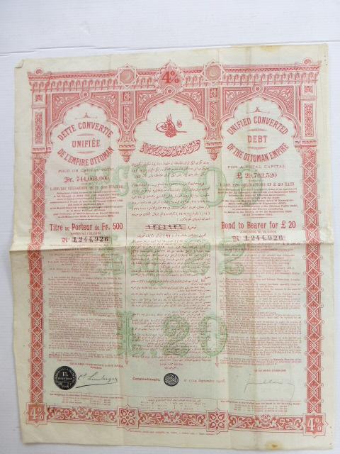 תעודת אגרת חוב United Converted Debt of the Ottoman Empire, 1903