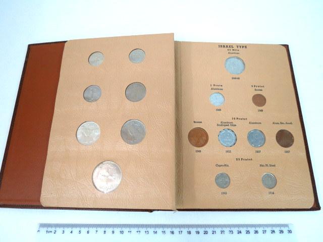 """סט מטבעות Israel Type חב Dansco California USA, כולל בין היתר: 250, 500 פרוטה, תש""""ט כסף, ו 25 מיל תש""""ט, מצב AUC"""