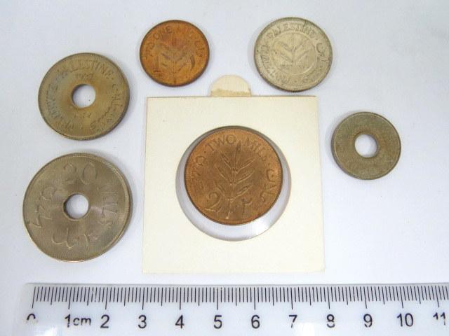 שש מטבעות מנדט, כולם AU 1927 : 1 מיל, 2 מיל, 5 מיל, 10 מיל, 20 מיל, 50 מיל