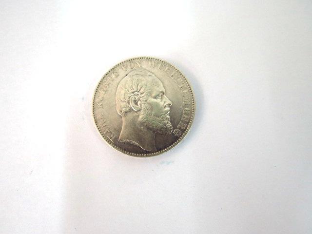 """מטבע כסף ע""""ס Thaler Karl Koenig v. Wuertenberg, 1870-1871, VF"""
