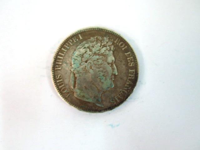 "מטבע כסף, צרפת, ע""ס 5 פרנק Louis Philippe I, 1830-1848, Strassbourg, 1833, VG"