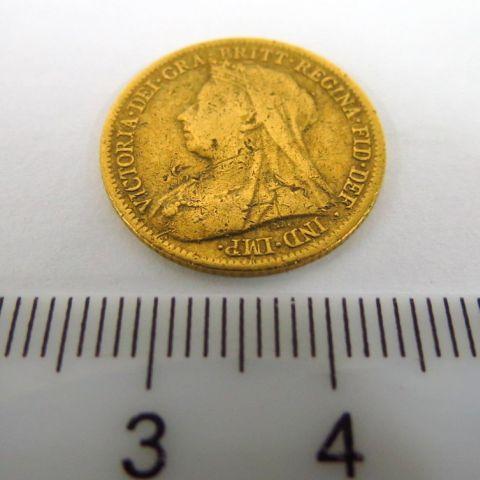 """מטבע זהב, אנגליה, ע""""ס חצי סוברן 1900 Good"""