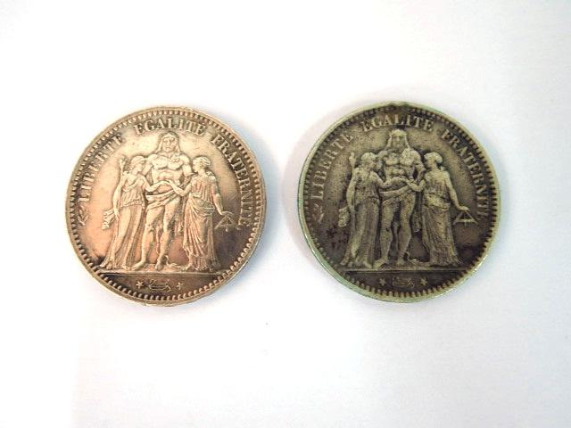 """שתי מטבעות כסף, צרפת, ע""""ס 5 פרנק כ""""א, 1873, 1875, VG-Fine"""